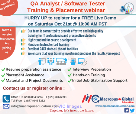 FREE live webinar on QA/Software Testing & Placement Services. Calgary, Alberta, Canada Annonces Classées