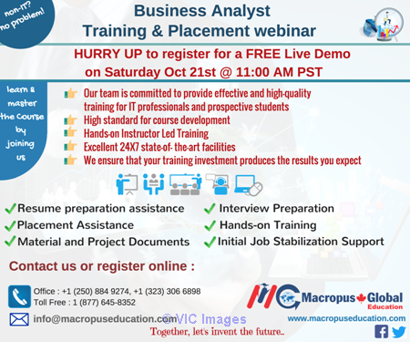 FREE live webinar on Business Analysis & Placement Services. calgary