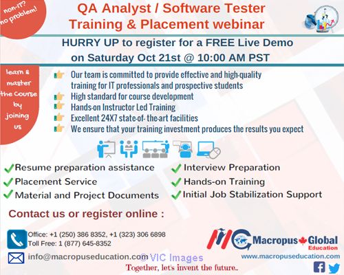 FREE live webinar on QA/Software Testing &PlacementServices. calgary
