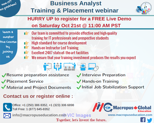 FREE live webinar on Business Analysis & Placement Services. Calgary, Alberta, Canada Annonces Classées