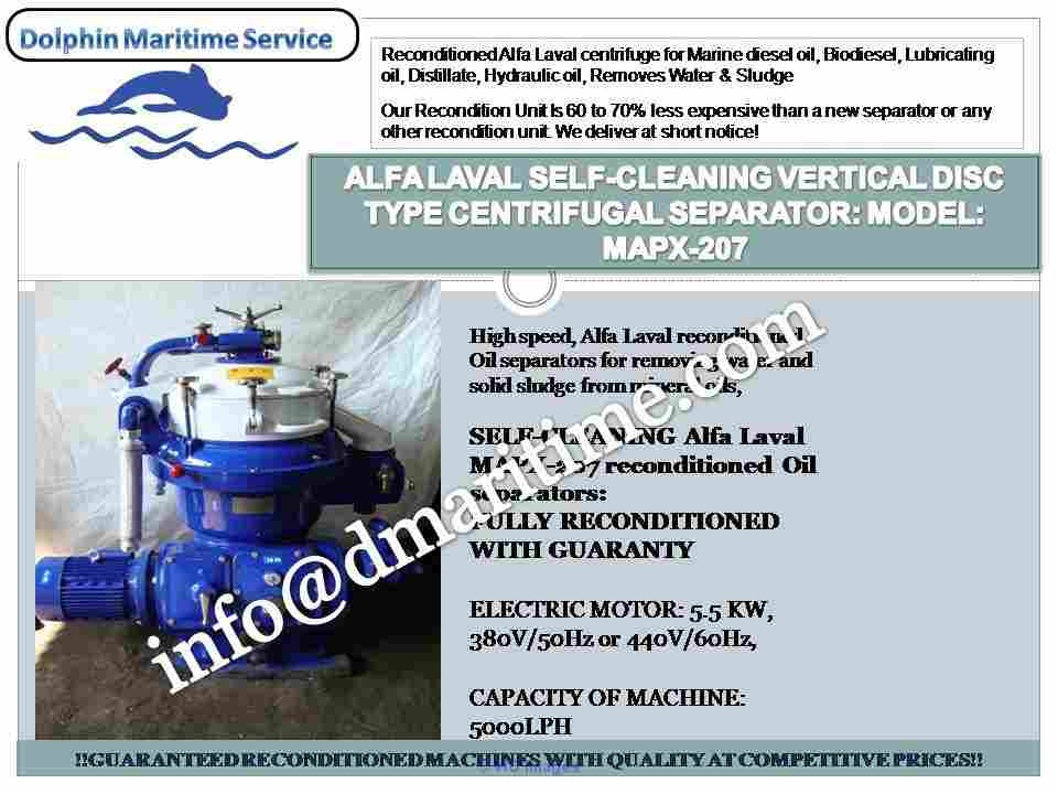 Alfa laval centrifuge, oil purifier, oil separator, MAPX-207, MOPX-207 calgary