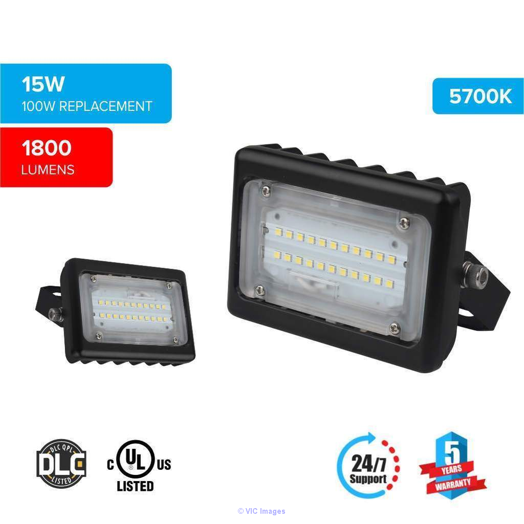 LED Flood Light 15 Watt 5700K Black Finish - LEDMyplace calgary
