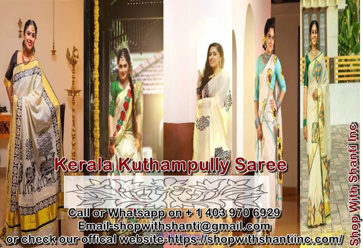 Buy Kerala kuthampully Saree Online Delivery All Over World. calgary