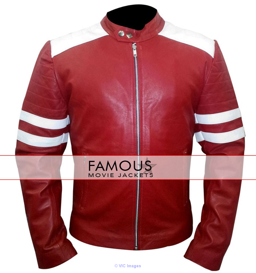 Fight Club Brad Pitt Red/White Mayhem Jacket calgary