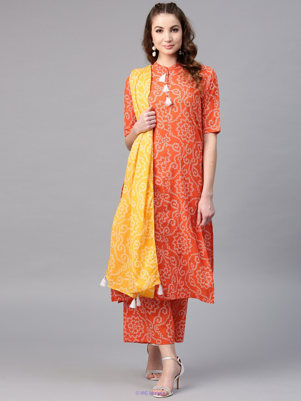 Orange Bandhani Printed Straight Kurta With Palazzo & Yellow Dupatta  calgary