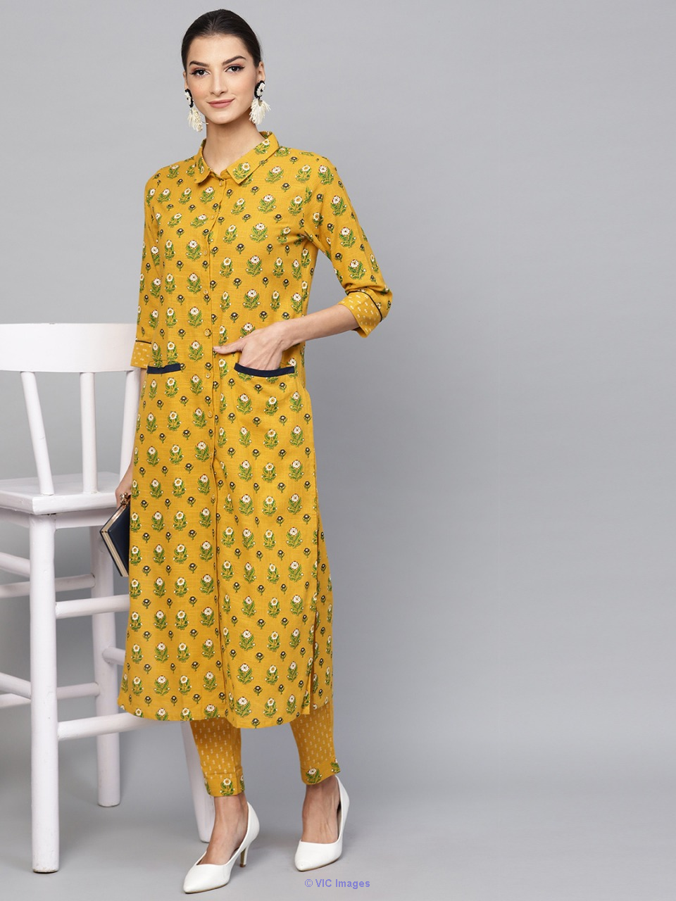 Mustard & Green Floral Printed Button Down Kurta With Pant Set